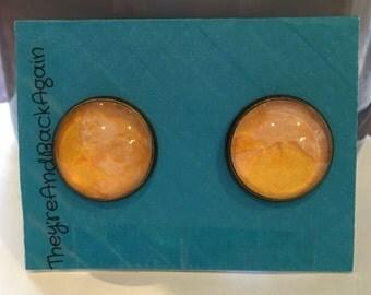 16mm Round Bronze&Yellow Earrings