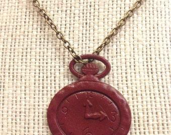 """20"""" Maroon Clock Necklace"""