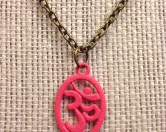 "16"" Hand-Painted Bronze&Pink OM Necklace"