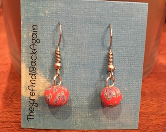 Red with Blue Flowers Clay Bead Earrings