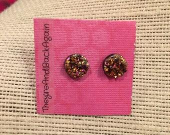 8mm Metallic Magenta Faux Druzy Stud Earrings
