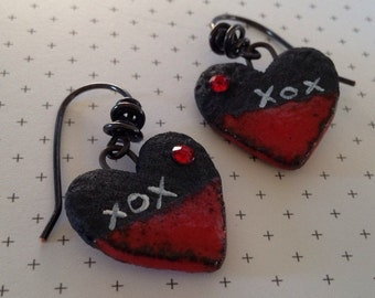 Red and Black Hearts: XOX2 Heart Earrings