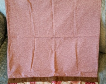 Handmade Pink & Brown Floral Standard Size Pillow Case