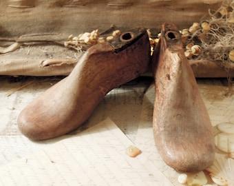 Two Vintage / Antique Industrial Child's Wood Shoe Form / Wooden Shoe Forms / Cobblers Shoe Form / 1800s