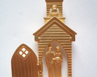 Vintage Signed JJ Gold pewter Church Wedding Brooch/Pin  Bride and Groom