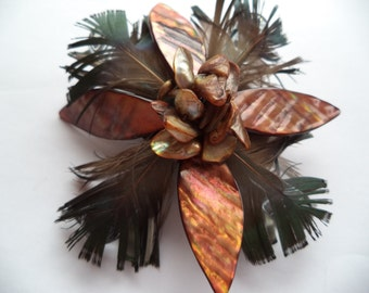 Fabulous Unsigned Dark Brown/Mother of Pearl Feather  Brooch/Pin