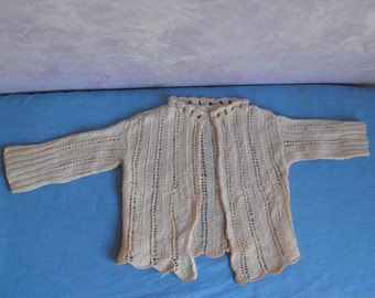 Vintage Crocheted Ivory Baby Sweater