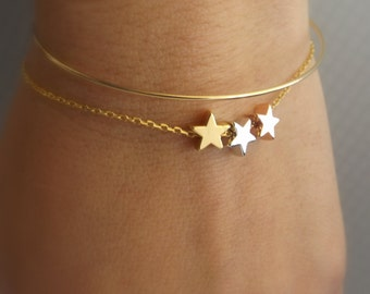 Three tone star bracelet, silver rose gold gold star bracelet, three star bracelet, bridesmaid gift, dainty star bracelet, star jewelry