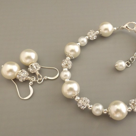 Ivory Pearl Bridesmaid Jewelry Set Pearl Bracelet And By