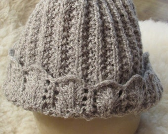 Mistake Rib with lace Knit Hat
