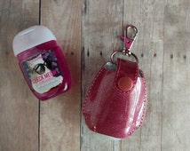 Pocket Hand Sanitizer Holder- Dusty Rose Glitter Vinyl with Snap, Great for Backpacks, Bags and Purses, Quick Ship, Choose from 25 Colors