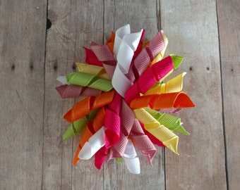 CLEARANCE- Curly Korker Bow Hair Clip- Super Pink, Mauve, White, Yellow, Orange, and Pale Green, M2M Gymboree Citrus Cooler, Ready to Ship