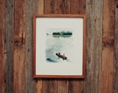 Canoeing Print .  Pine Trees . Adventure . Nature