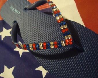 Flip Flops- Patriotic Crystals