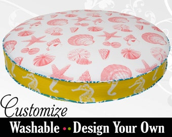 Coral Turquoise Round Dog Bed with Foam or Fiberfill Insert - Select your Fabrics and Size - High Quality!