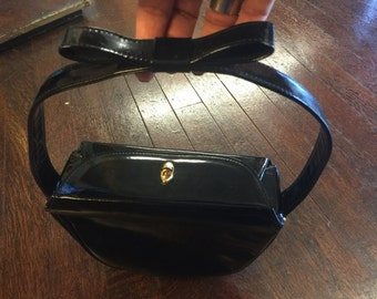 90's Does 50's Black Patent Leather Handbag With Bow On Handle- Adorable 50's Style Black Patent Leather Handbag