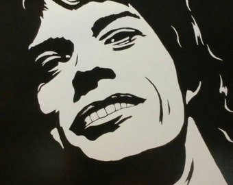 Mick Jaggar of the Rolling Stones is a Limited Edition, Numbered, Dark and Light Print of the Original Art by Artist Charles Freeman