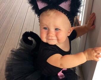 Black Cat Costume with bow, Black Tutu Costume, Black Kitty Costume, Tutu Halloween Costume, shirt not included