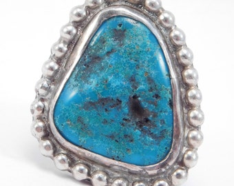Large Signed Navajo Silver Turquoise Ring