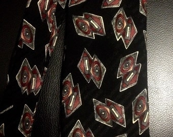 Vintage Robert Talbott for Posh Black Tie with Multicolor Overlapping  Diamonds