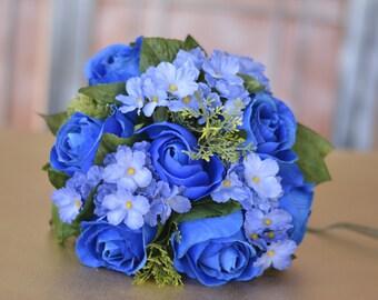 Small Royal Blue Roses Wedding Bridal Bouquet Silk Flowers Wedding Accessory