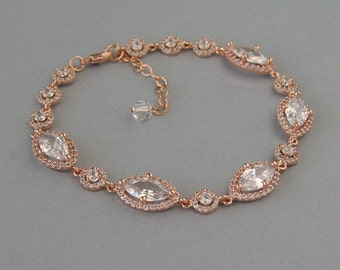 Cubic Zirconia, Rose Gold Plated Brass, Bridal Bracelet, Bridesmaid Gift,Wedding Jewelry, Marquise, Round, Rose Gold Bridal Bracelet - DK779
