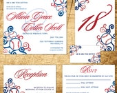 CUSTOM LISTING: Baseball Wedding PRINTABLE Invitation Suite for Karla F.