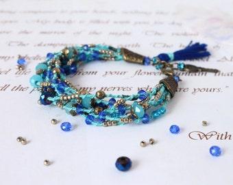 Blue Tassel Bracelet, Layered Beaded Bracelet, Multi Strand Macrame Bracelet, Turquoise Boho Bracelet