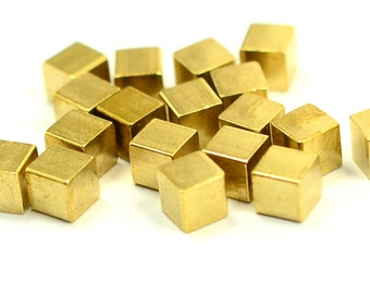 20 Pcs. Raw Brass 4x4 mm Sqaure No Hole Cube Findings
