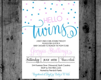 hello Twins pink and blue Confetti Baby Shower Printable Invitation