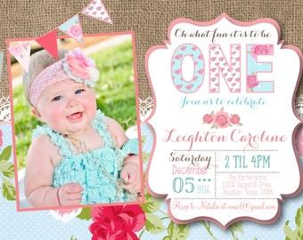 Shabby Chic 1st Birthday Invitation, tea party, burlap, lace,