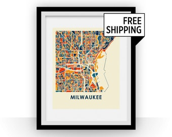 Milwaukee Map Print - Full Color Map Poster