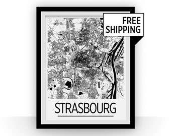 Strasbourg Map Poster - france Map Print - Art Deco Series
