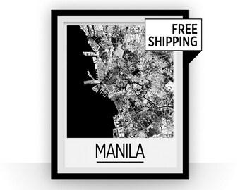Manila Map Poster - philippines Map Print - Art Deco Series