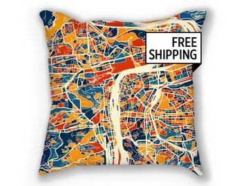 Prague Map Pillow - Czech Map Pillow 18x18