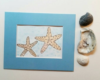 Original Pastel Starfish Whimsical Watercolor Matted 8x10 Landscape