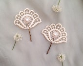 Vintage Pearl & Antique Buttermilk Cream Fan Flower Lace Wedding Hair Accessories Grip Clips