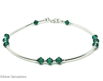 Emerald Green Swarovski Crystals & Sterling Silver Bangle Bracelet, Elegant Wedding Bracelet, Designer Green Crystals Bridesmaids Bracelet