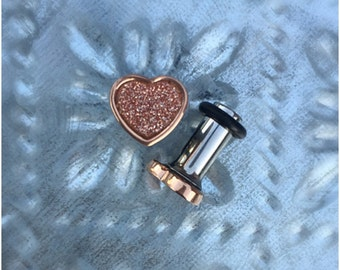 Tiny glitter Heart in rose gold stainless steel plugs for gauged or stretched ears sizes: 14g, 12g, 10g, 8g, 6g, 4g, 2g