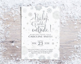 Baby Shower Invitation, Printable Winter Baby Shower Invite, Gender Neutral Silver Invites, Baby it's Cold Outside,Snowflake Baby Boy Girl