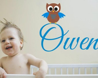 Boys Name Owl Wall Decal - Monogrammed Vinyl Wall Decal Lettering -Personalized Boys Room Decor - Baby Nursery Decor