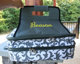 Personalized Casserole Carrier Gray Floral Monogrammed Food Tote