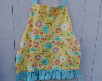 Yellow & Blue Floral Girls Apron fits ages 4-6