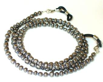 Necklace, bracelet, gray 72 cm (107)