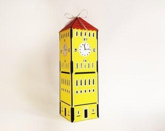 clock tower house paper cut gift box keepsake desk organizing no glue folding box - 2.6x2.6x9.3 inch