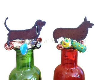 WELSH CORGI or BASSET Hound Rustic Rusty Rusted Metal Decorative Wine Bottle Cork Stopper Topper