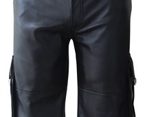 Black real Leather Combat Shorts With Six Pockets  Custom Made To Order MSO-001