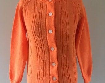 Bright Orange Retro Knitted Cardigan