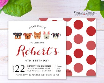Puppy Child's Birthday Invitation - Baby, Toddler, Kid's Dog Birthday Party Invite - Doggie Pet Party - Digital File