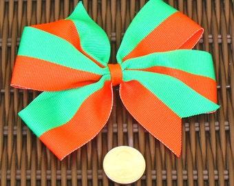 Orange and Green  5 Inch Hair Bows - Orange and Green  5 Inch Pinwheel - U Miami Hair Accessory -  Team Party Favors - BowBravo